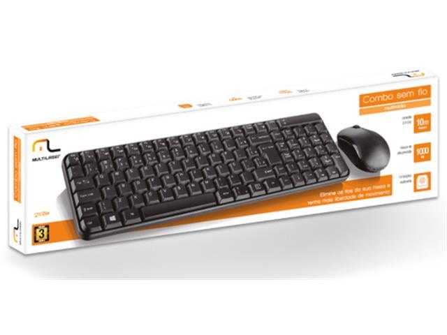 Teclado e Mouse Sem Fio Multilaser 2.4 Ghz Multimidia Preto USB TC183 - 2