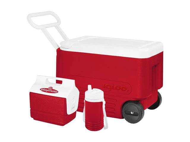 Kit Caixa Térmica Wheelie Cool 38QT Vermelho Com 3 Peças