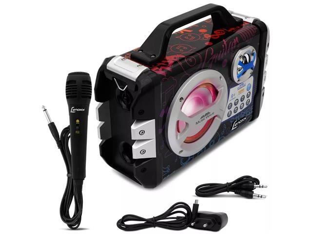 Caixa de Som Portátil Lenoxx Music Wave MP3 USB FM Bluetooth Karaokê