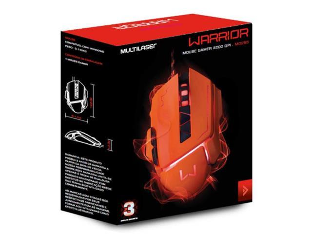 Mouse Gamer Multilaser USB 3200 DPI Warrior Laranja - 6