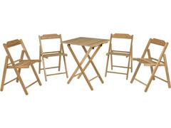 Conjunto de Mesa com Cadeiras Tramontina Beer Teca 5 Peças