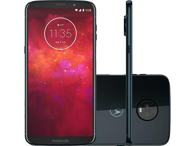 "Smartphone Motorola Moto Z3 Play 64GB 4G 6"" Dual Câmera 12+5 MP Índigo"