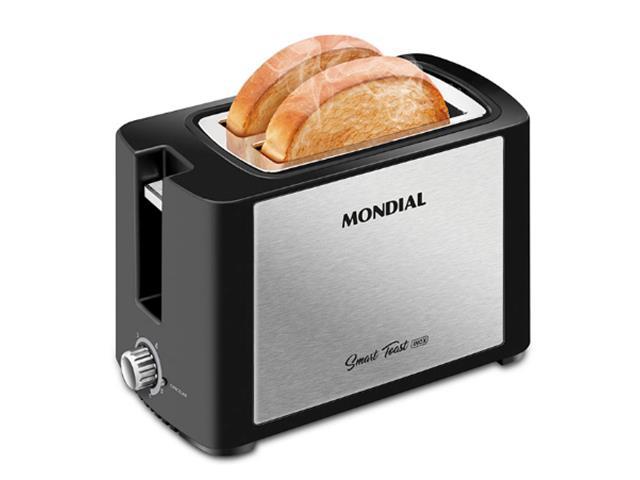 Torradeira Smart Toast Mondial T-13 com 6 opções de tostagem – Preto/Inox - 220V