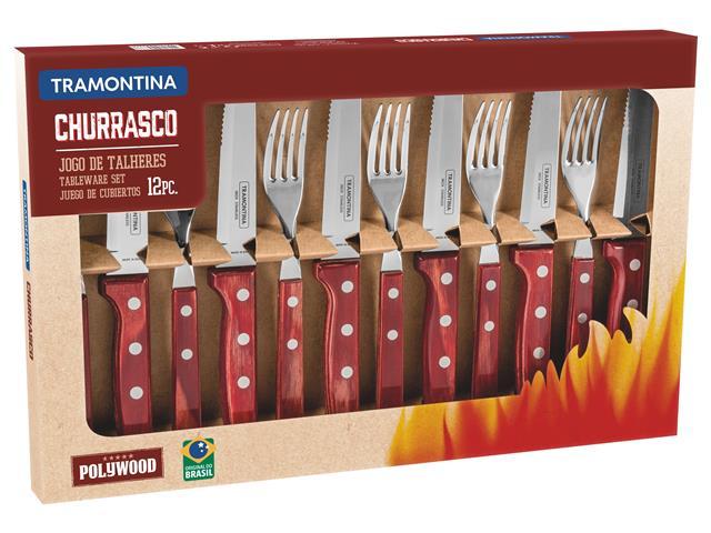 Conjunto para Churrasco Tramontina Polywood Vermelho - 12 Peças