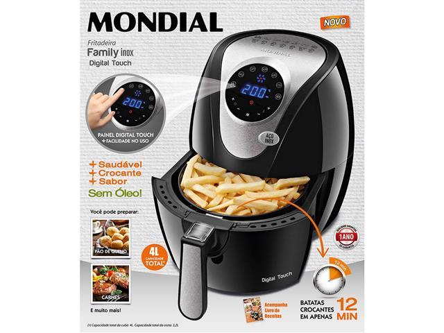 Fritadeira Sem Óleo Mondial Family Digital Touch Air Fryer Preta - 3