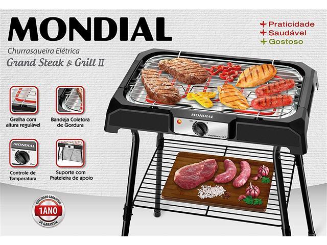 Churrasqueira Elétrica Grand Steak & Grill II 2000W Preta Mondial - 2