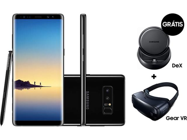 "Smartphone Samsung Galaxy Note 8 128GB 6.4"" Câm.12MP Pto + Dex + Gear"