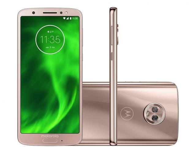 "Smartphone Motorola Moto G6 64GB Tela 5.7""4G Dual Câm 12+5MP Ouro Rosê"