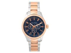 Relógio Nautica Masculino Aço Prateado E Dourado - Napstb005Ww
