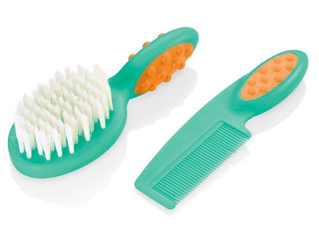 Pente e Escova para Cabelo Multikids Soft Touch Verde