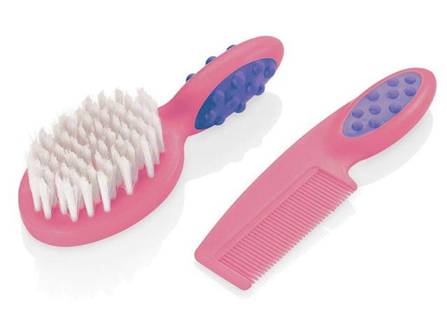 Pente e Escova para Cabelo Multikids Soft Touch Rosa