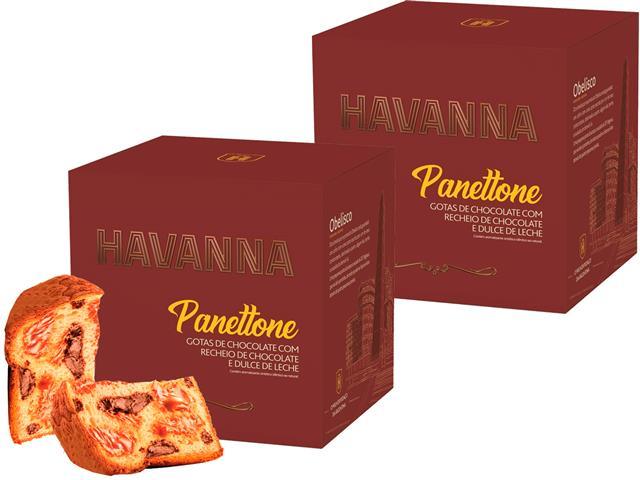 Combo Panettone Havanna Duplo Recheio Chocolate e Doce de Leite 700G