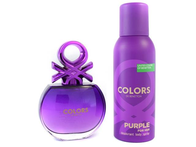 Kit Perfume Benetton Colors Purple EDT 80ml + Desodorante 150ml