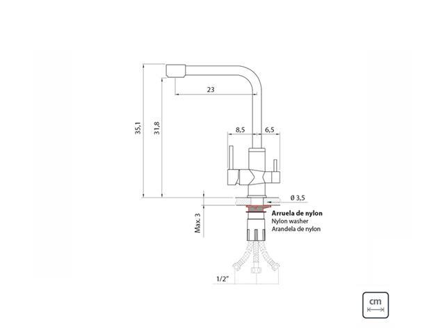 Misturador Monocomando Tramontina com Bica para Água Filtrada - 6