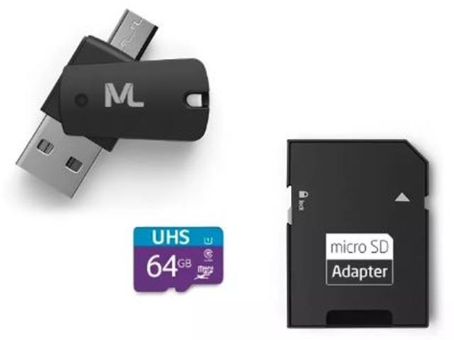 Kit Multilaser Adaptadores Dual Drive e SD com Cartão de Memoria 64GB