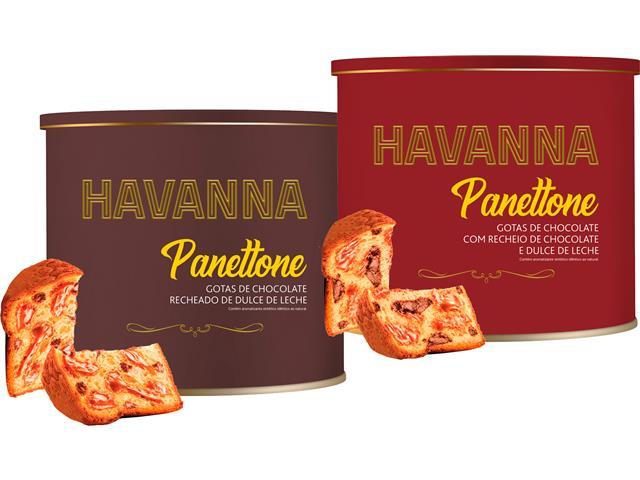 Combo 2 Panettone Havanna Lata Duplo Recheio e Gotas de Chocolate 700G