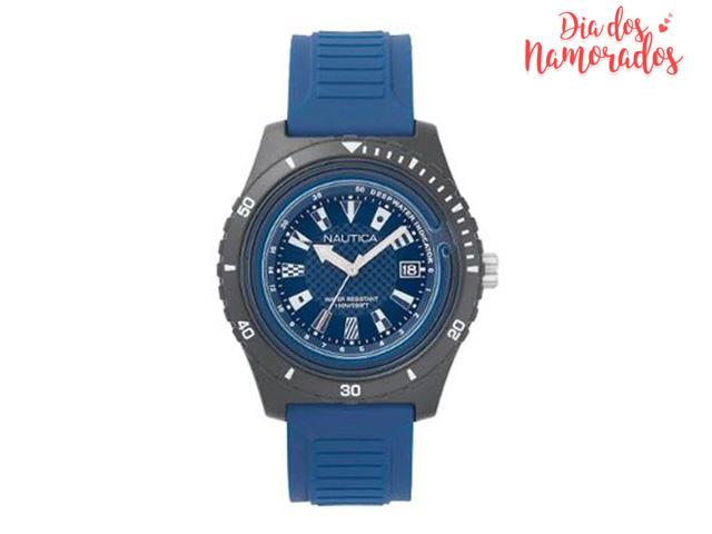 Relógio Nautica Masculino Borracha Azul NAPIBZ008