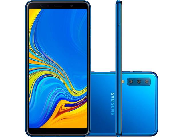 "Smartphone Samsung Galaxy A7 2018 128GB Duos 4G Tela 6"" Câm. 24MP Azul"