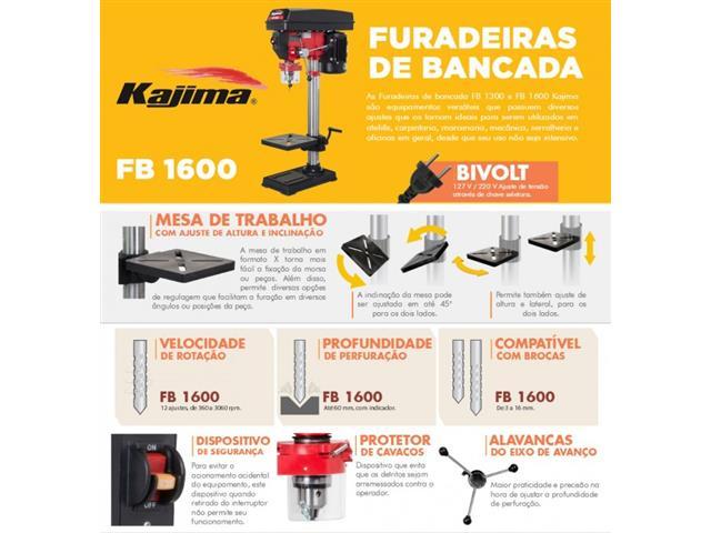 Furadeira de Bancada FB1600 Kajima bivolt 12hp 12 veloc - 1