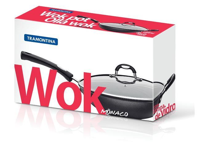 Panela Wok Tramontina Mônaco Preta Ø 28CM - 1