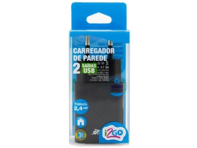 Adaptador de Tomada Parede i2GO 2 USB 2.4 A - 2