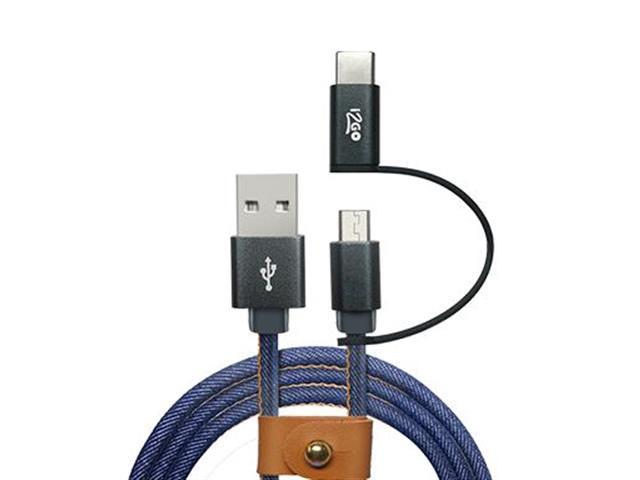 Cabo 2 em 1 Micro USB e USB-C i2GO Jeans 1,5Mts