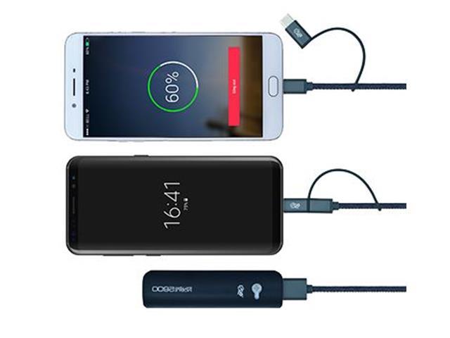 Cabo 2 em 1 Micro USB e USB-C i2GO Jeans 1,5Mts - 3
