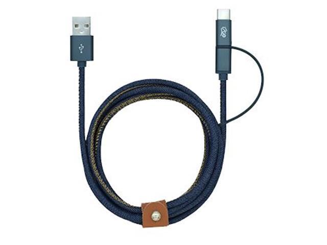 Cabo 2 em 1 Micro USB e USB-C i2GO Jeans 1,5Mts - 1