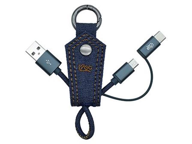 Cabo 2 em 1 i2GO Jeans Micro USB e USB-C