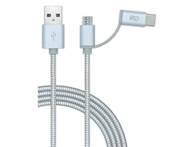Cabo 2 em 1 Micro USB e USB Tipo-C Metallic i2GO 1,5Mts