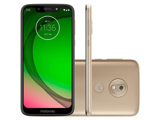 "Smartphone Motorola Moto G7 Play 32GB Dual Tela 5.7""Câm 13MP 4G Ouro"