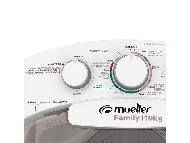 Lavadora Semiautomática Mueller Family com Aquatec Branca 10kg - 3