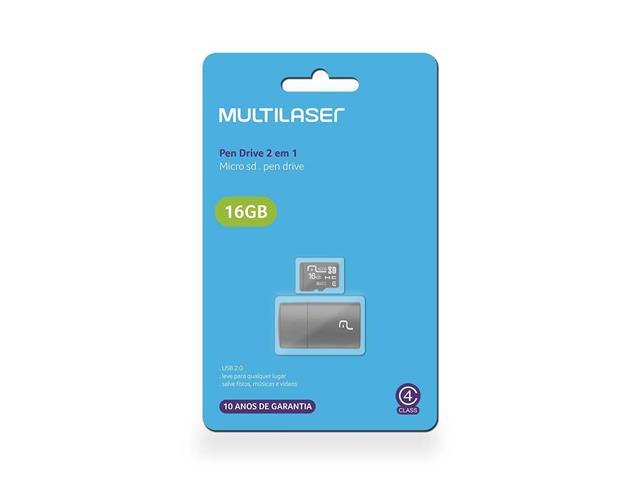 Leitor USB com Cartão de Memória Classe 4 Multilaser 16GB - 1