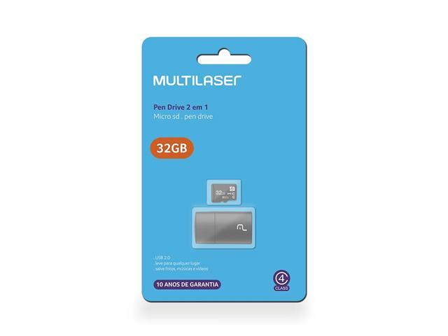 Leitor USB com Cartão de Memória Classe 4 Multilaser 32GB - 1