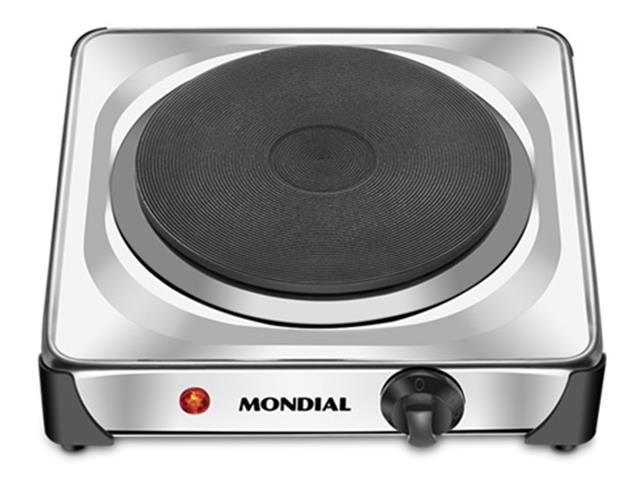 Fogão Elétrico Mondial 1 boca 6 temperaturas Fast Cook Inox