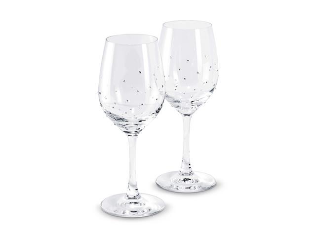 Conjunto Taça Vinho Swarovski decorada com cristais  2 peças