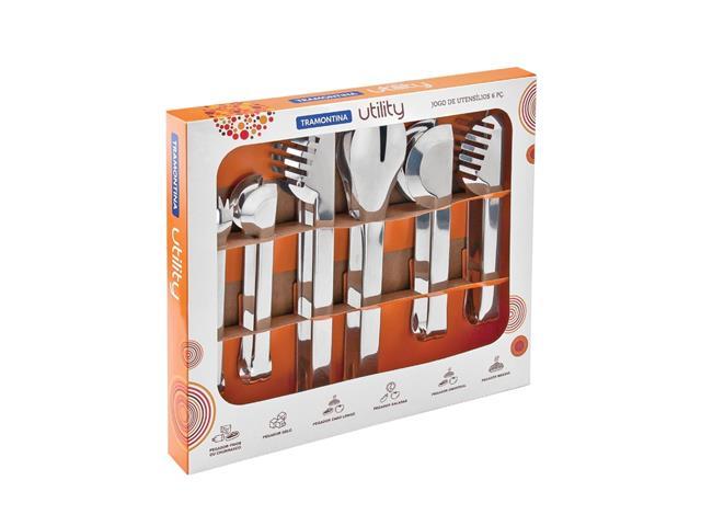 Jogo de Utensílios Tramontina Utility em Aço Inox 6 Peças - 1