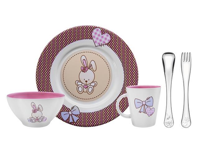 Kit infantil para Refeição de Cerâmica Tramontina LePetit Rosa 5 Peças