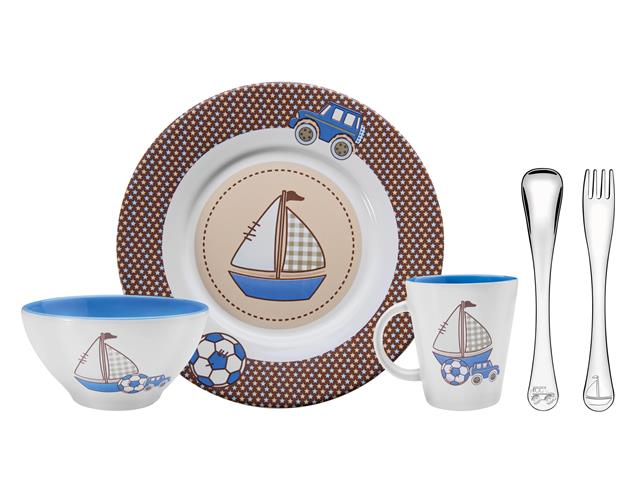 Kit infantil para Refeição de Cerâmica Tramontina LePetit Azul 5 Peças