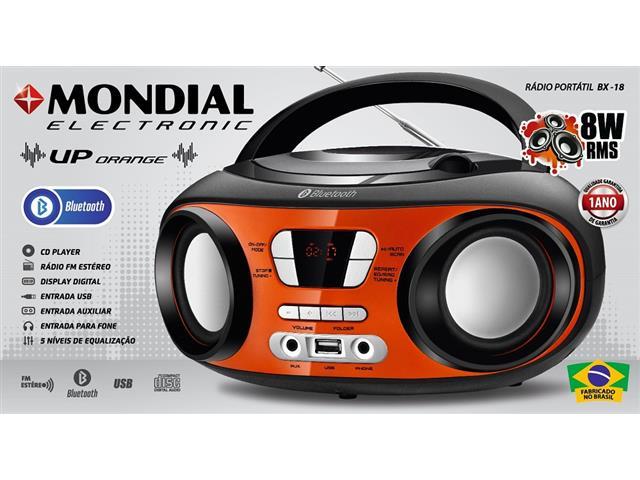 Rádio Portátil Up Bluetooth Mondial Laranja Bivolt - 1