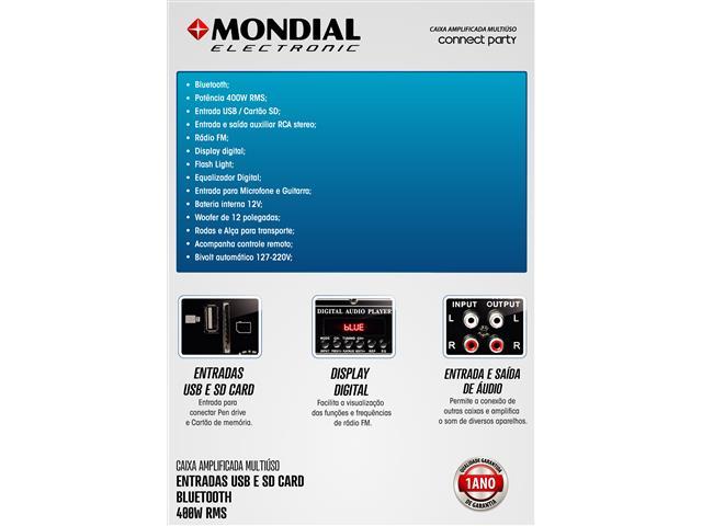 Caixa Amplificadora Multiuso Conect Party Mondial Bivolt - 5