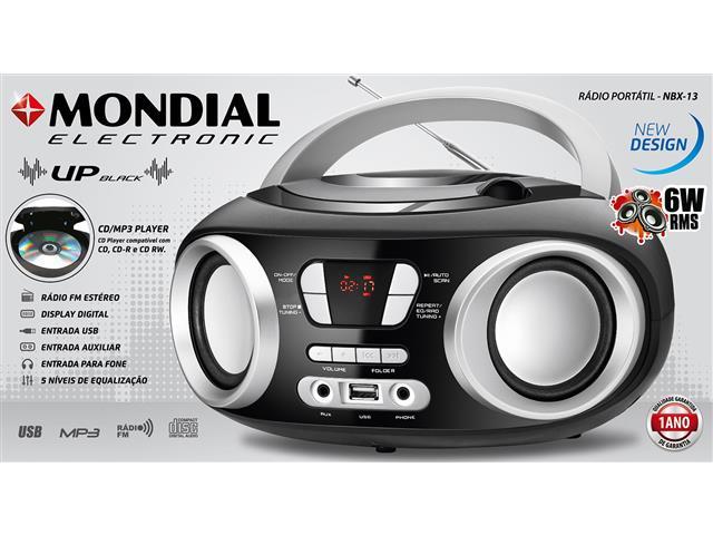 Rádio Boom Box Up Black USB Mondial Preto Bivolt - 6