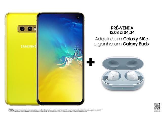 "Smartphone Samsung Galaxy S10e 128GB Tela 5.8"" 6GB RAM 12+16MP Amarelo"