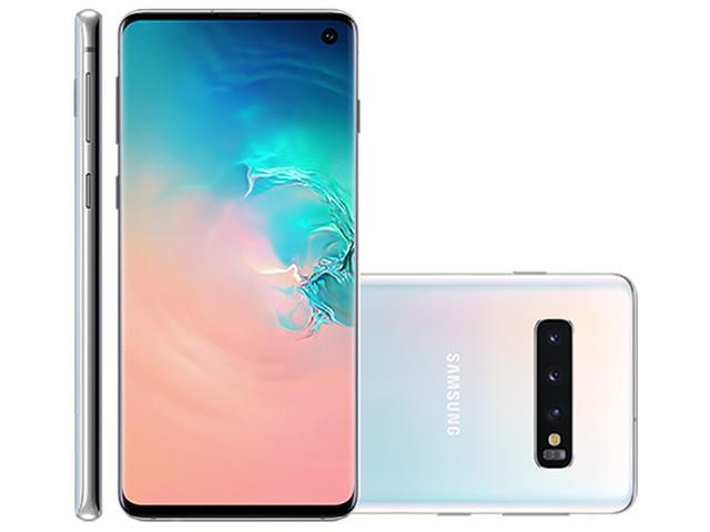 "Smartphone Samsung Galaxy S10 128GB Tela 6.1""8GB RAM 12+12+16MP Branco"