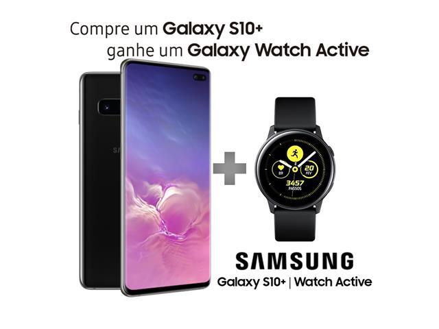"Smartphone Samsung Galaxy S10+ 128GB Tela 6.4""8GB RAM 12+12+16MP Preto"