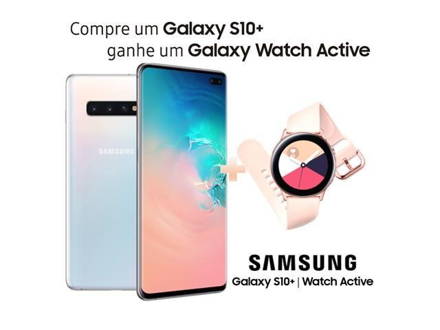 "Smartphone Samsung Galaxy S10+128GB Tela 6.4""8GB RAM 12+12+16MP Branco"