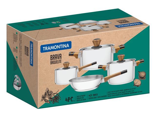 Conjunto de Panelas Tramontina Brava Baquelite 65180310 em Aço Inox – 4 Peças - 1