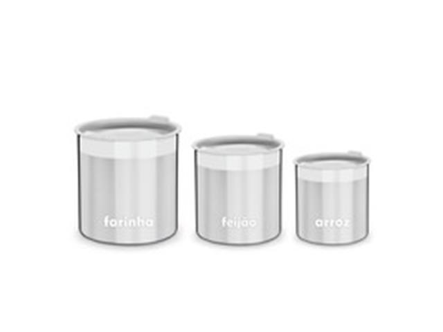 Conjunto de Potes para Armazenar Tramontina Cucina Inox 3 Peças