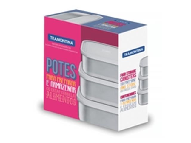 Conjunto de Potes Tramontina Quadrado Freezinox Aço Inox 3 Peças - 2