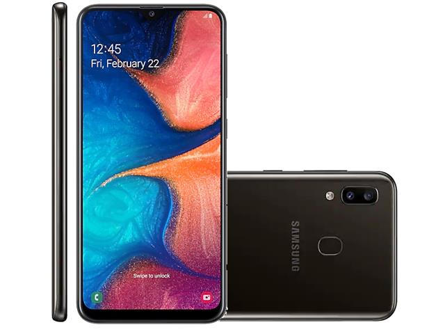 Smartphone Samsung Galaxy A20 32GB Duos 4G Tela 6.4Câm 13+5MP Preto